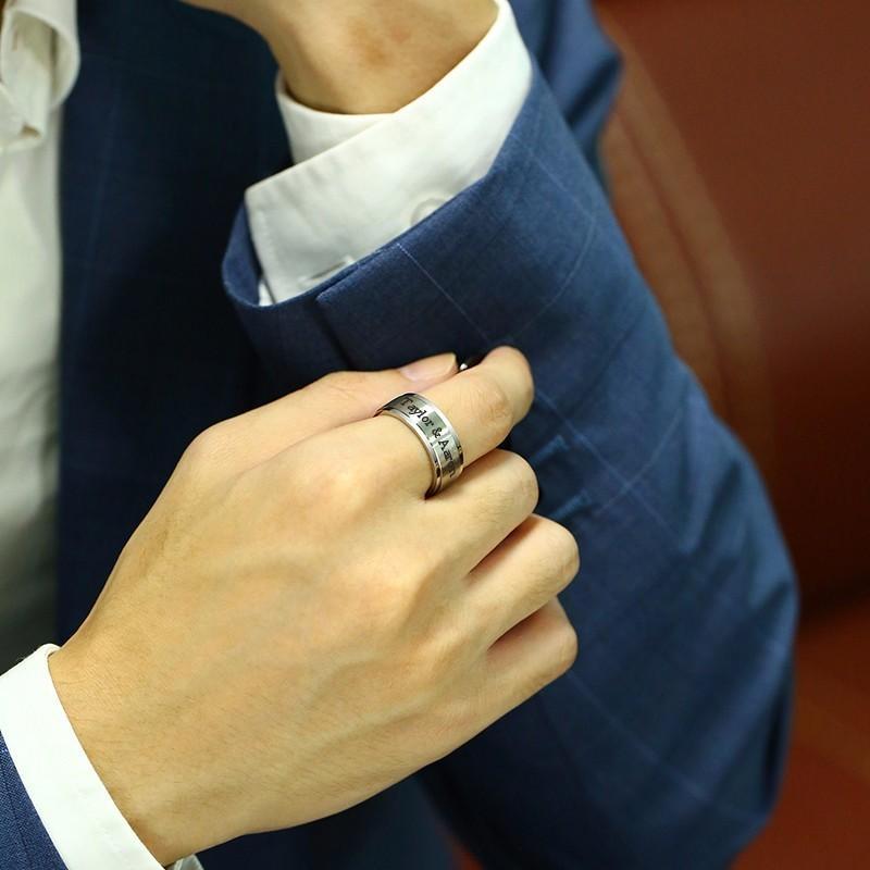 Anillo de hilander grabado de alto grabado de 8mm de 8 mm en blanco y negro de acero inoxidable hombres banda de boda joyería masculina