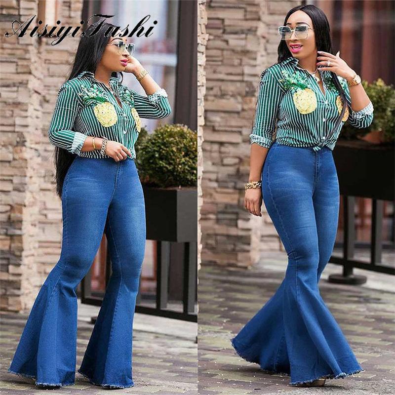 AISIYIFUSHI Jeans de cintura alta Bell Bell Bell Azul Mamá Pasantes de Jeans Mujeres Largos Pantalones Pantalones de Cintura Alta Campana Pantalones Jeans Plus Talla A1112