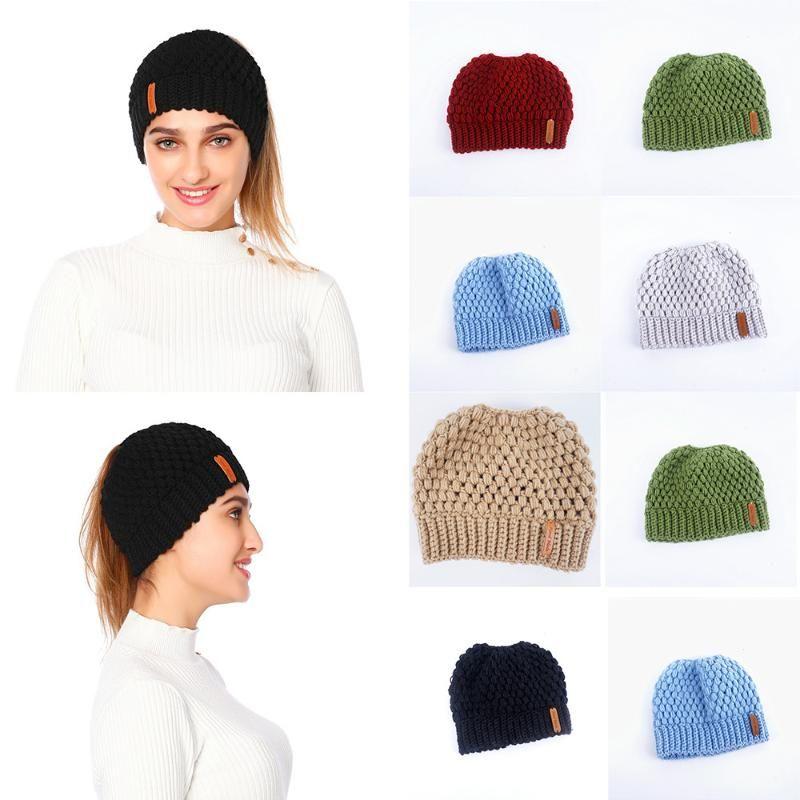 Knit Mulheres Hat Ladies menina estiramento Com Holey Caps Chapéus Knitting Inverno