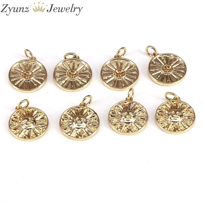 10 pcs, cor ouro vergina sol moeda pingente charme, antiga flor grega sunburst q1209