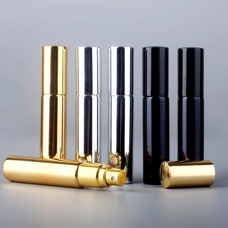 10ml d'atomiseur de placage UV mini bouteilles de pulvérisateurs portables rechargeables échantillons de parfum d'échantillon de parfum or argent noir couleur wb3052