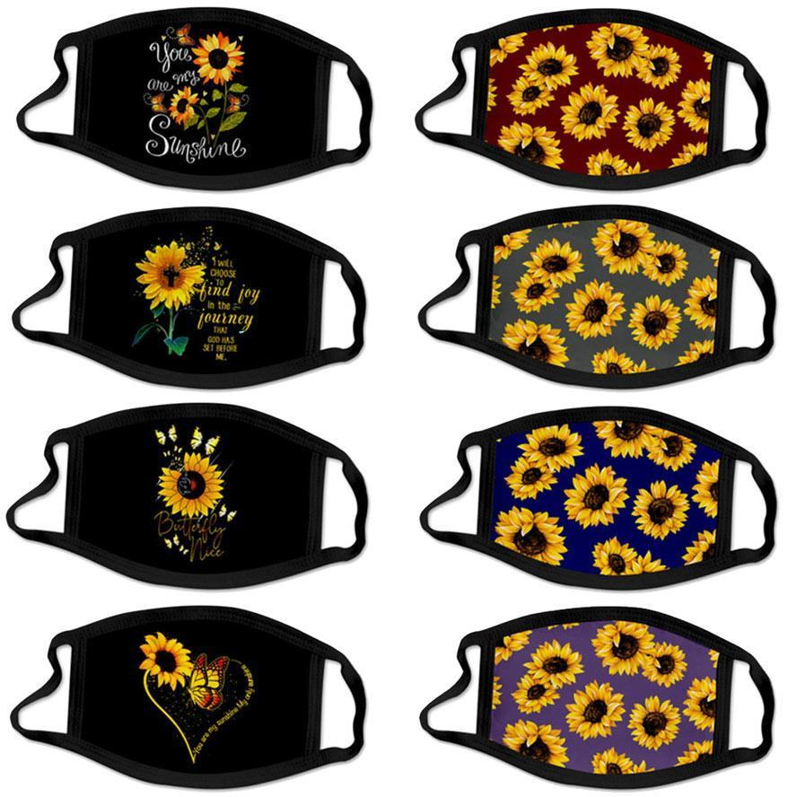 Face Masque Designer Sunflower 3D Impression numérique Coton Masque Masques de la bouche anti-anti-anti-brume lavable et respirant Facem masque en stock