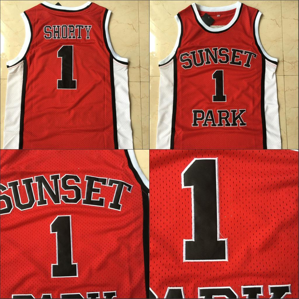 NCAA Mens Sunset Park # 1 Pallacanestro Maglie Rosso School School Stitched Jersey di Top Qualità 100% Scheded Size S-XXL