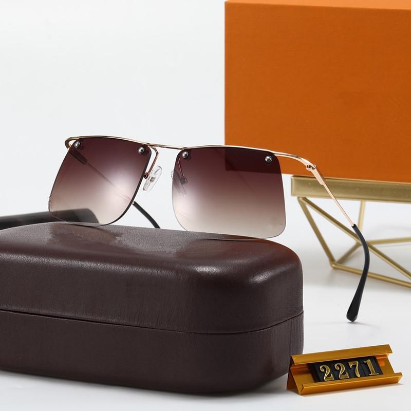 Semplice con occhiali da sole Designer per uomo Fashion Package Lens UV 400 2271 Coating Lens Quadrato Telaio placcato Colore Aulla Millionaire Specchio MJFL