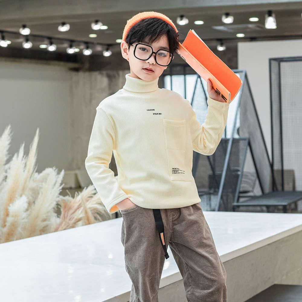 Осенний плюшевый теплый зимний свитер Новый Носить средняя и большая детская мода утолщенного высокого воротника