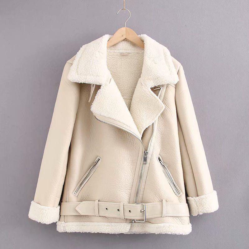 المرأة الفراء حزام الدافئة سترة الإناث الصوف الضأن الشتاء سميكة فضفاضة قاطرة معطف طويلة الأكمام بو قمم