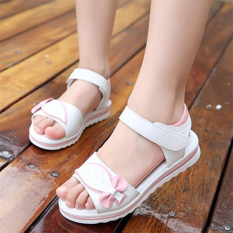 Fashion Summer Shoe Butterfly-Knot Hooklloop Baskets célibataires pour Princess Enfants Chaussures Bébé Girls Beach Sandales Y201028