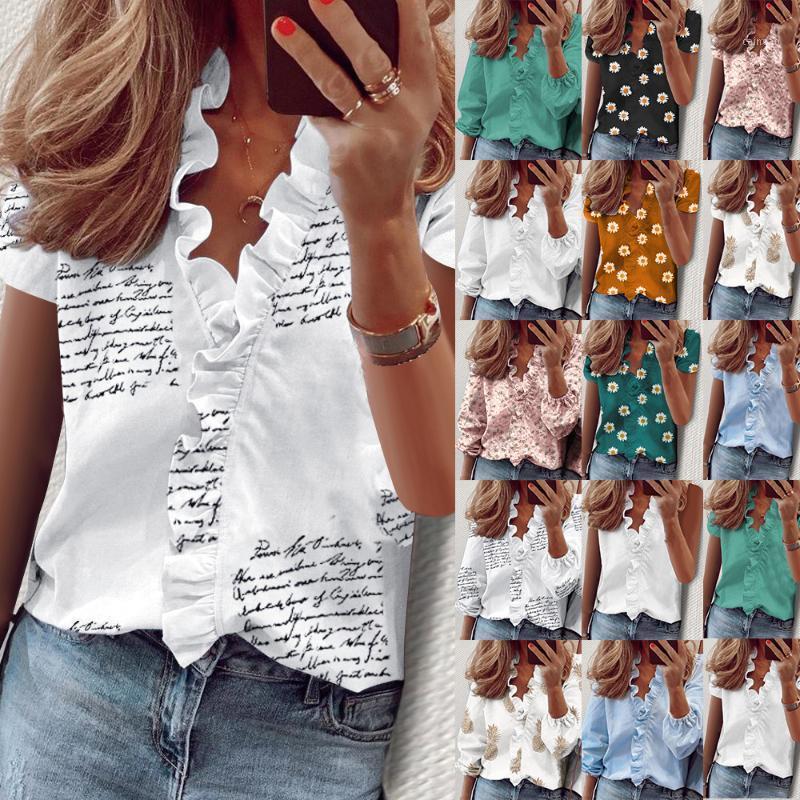 Frauen Sommer Polyester Hemd Sommerhemd Rufled Kurzarm Slim Fit Print Casual Bluse Top1