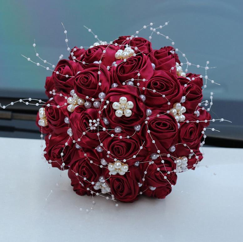 Güzel Şerit Saten Gül Gelin Buketi İnci Kristal Düğün Çiçekleri Sahte 7 Renkler Düğün Buketleri Kadınlar Için