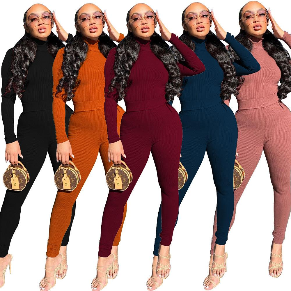 Yeni sonbahar ve kış kadın moda rahat yüksek boyun kaburga çukur şerit iki parçalı set tasarımcı düz renk ince uzun kollu pantolon takım elbise