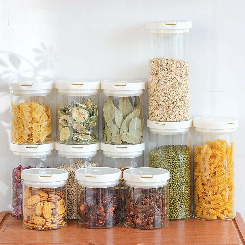 Cajas de almacenamiento de frutas de vidrio transparente Organizador de almacenamiento Organizador de cocina Artículos para el hogar
