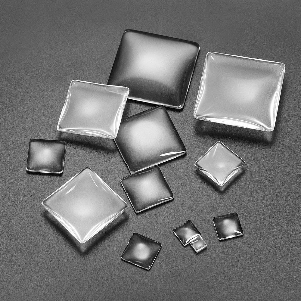 5-50 قطعة / الوحدة 6 - 40 ملليمتر واضح مربع كابوشون الشفاف شقة الظهر الزجاج كابوشون الحجاب إعدادات ل diy مجوهرات صنع اللوازم Q SQCVUM