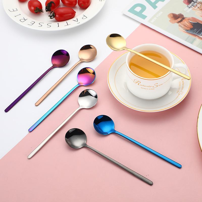 304 paslanmaz çelik kahve kaşığı küçük yuvarlak kaşık tatlı karıştırın çorba sevimli çay kaşığı sofra mutfak aletleri