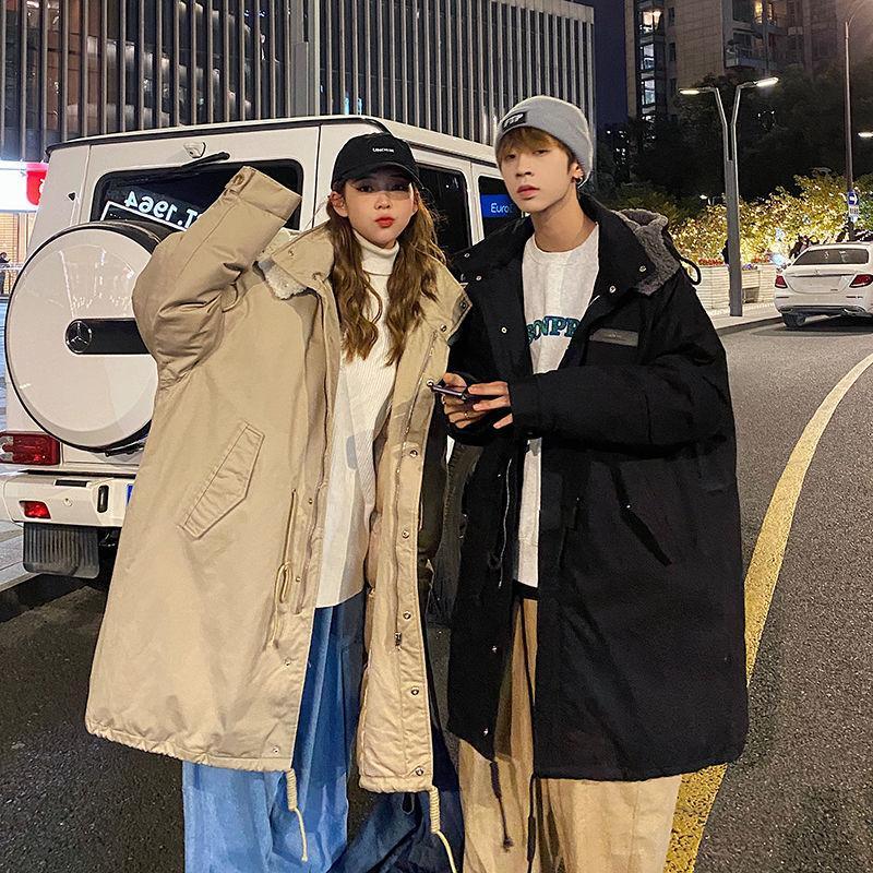 Зимний хлопчатобумажный сгущающий куртка мужская парка теплая мода повседневная негабаритные мужчины с капюшоном корейская одежда длинные пальто мужские пальто