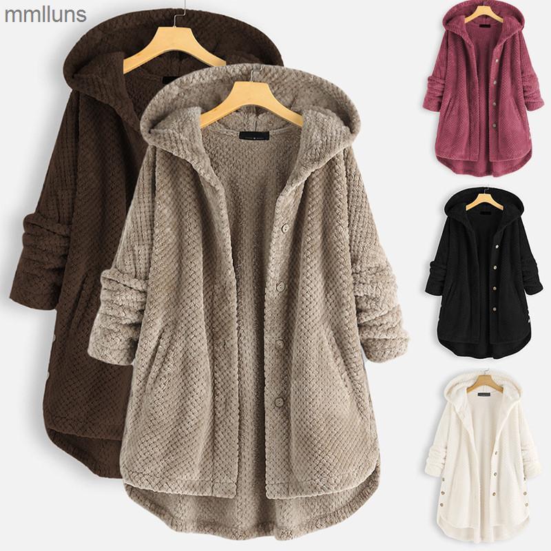2021 Neue Winter mit Kapuze doppelt umsichtig Velvet Damen Pullover Mode mittel langer Jacke für Frauen