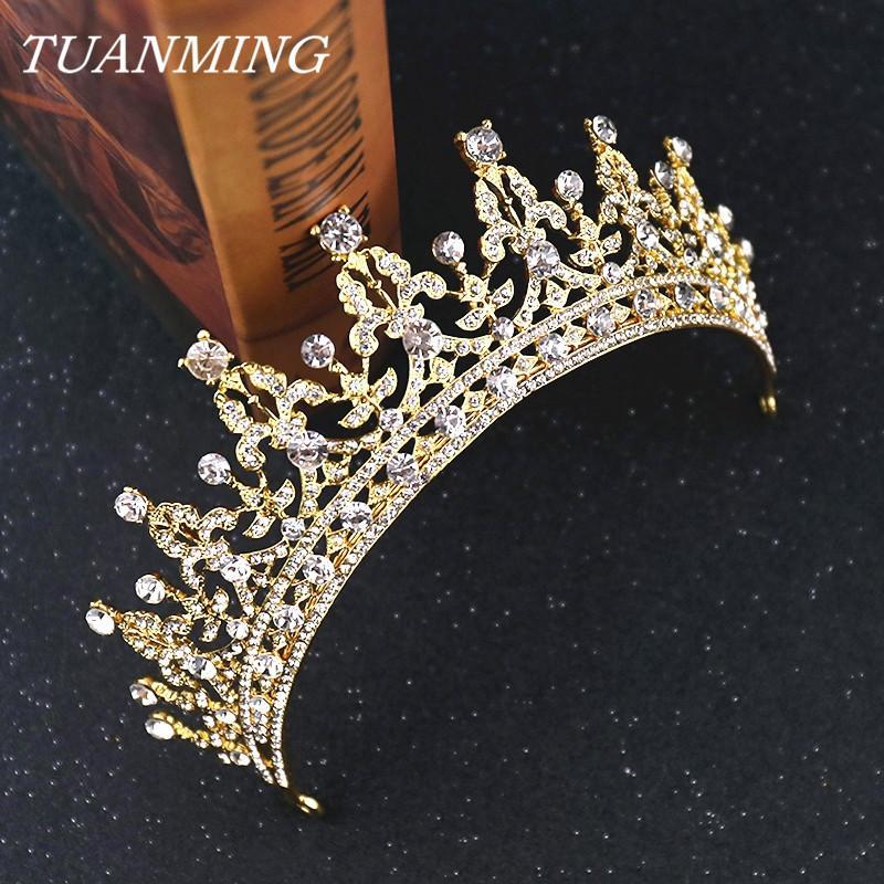 Rhinestone Gelin Taç Altın Kraliyet Taçları Tiaras Bayanlar Aksesuarları Bantlar Düğün Tiaras Gelinler için J0121