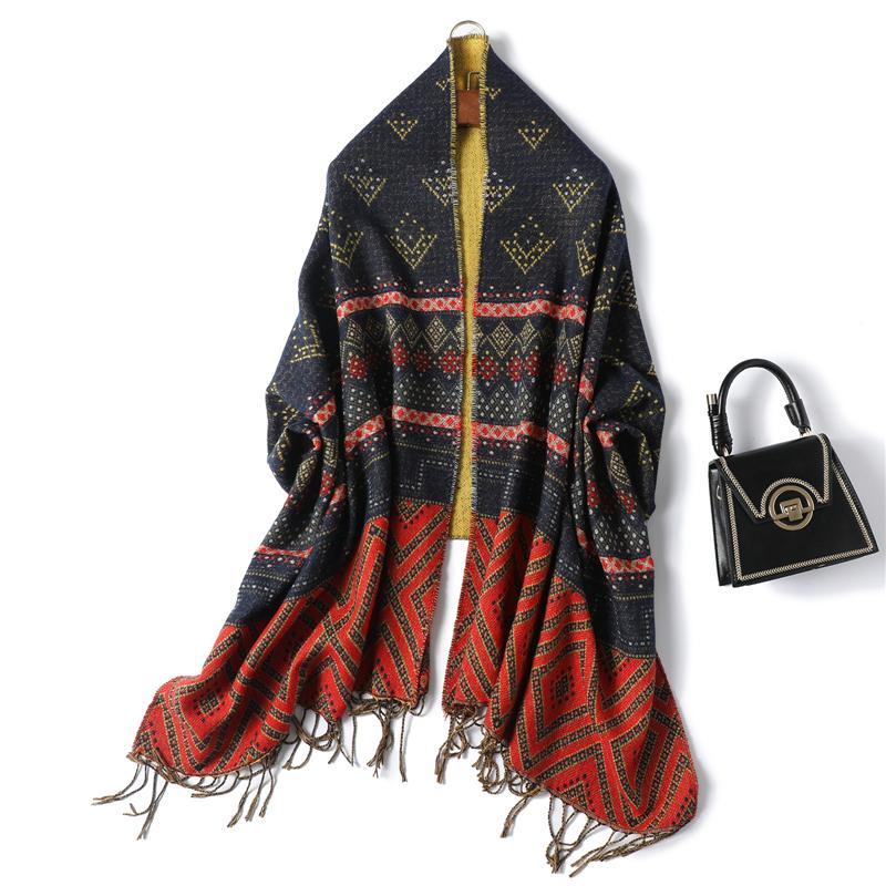 Bufanda de invierno Mujeres Diseño Imprimir Punto de Punto Cashmere Pashmina Shawal Lady Wraps Grueso Cálido Tassel Femenino Bufandas Largas Estoles 2020 Nuevo J1215