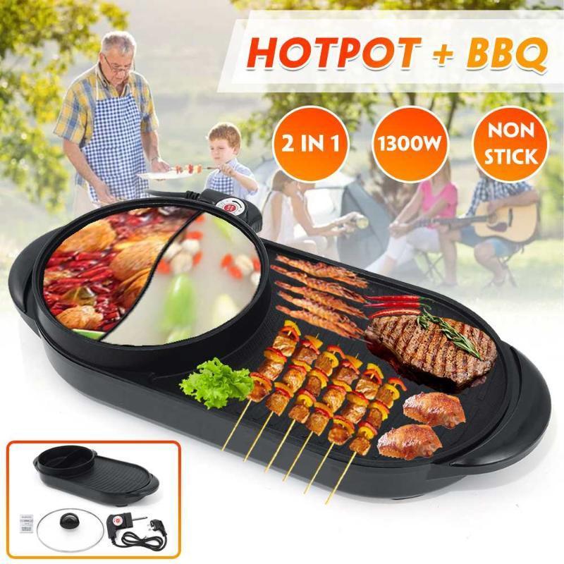 Contrôle de la température double de la cuisinière multi-cuisinière 1300W électrique électrique 2 en 1 machine de grill électrique de barbecue anti-bâton pour la fête à la maison