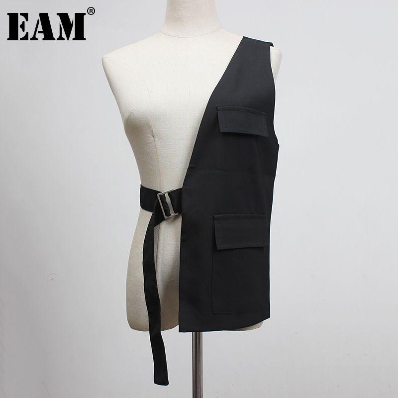 [EAM] Mujeres sueltas en forma negra un lado hebilla Split Joint Chaleco nuevo V-Collar sin mangas Moda marea primavera otoño 1y958 201125