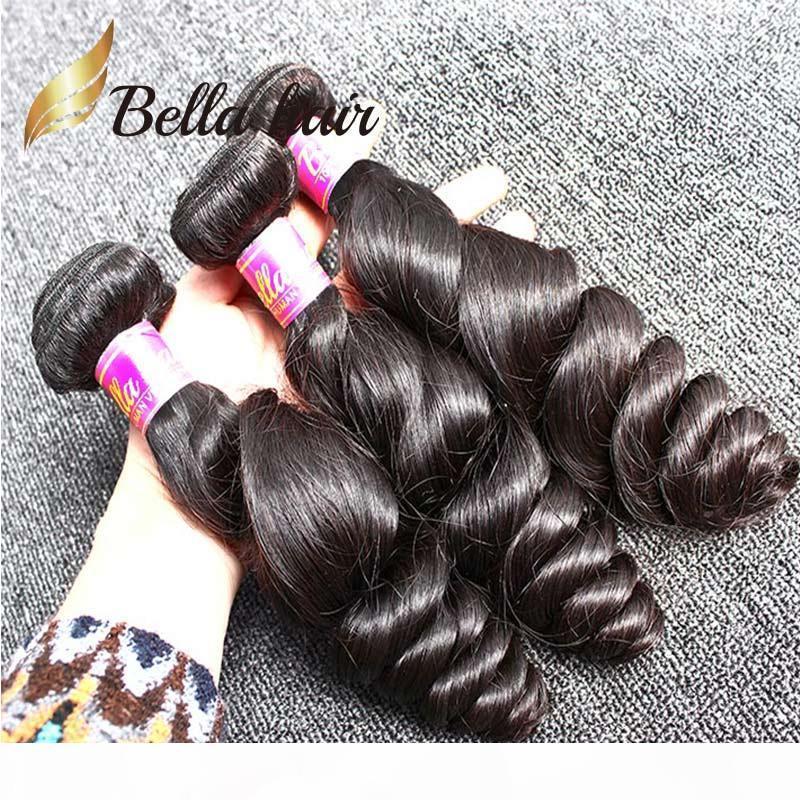 100% não processado pêlos malaios tecer 3 pcs lote natural cor preta cor de cabelo humano ondulado onda solta frete grátis bella cabelo