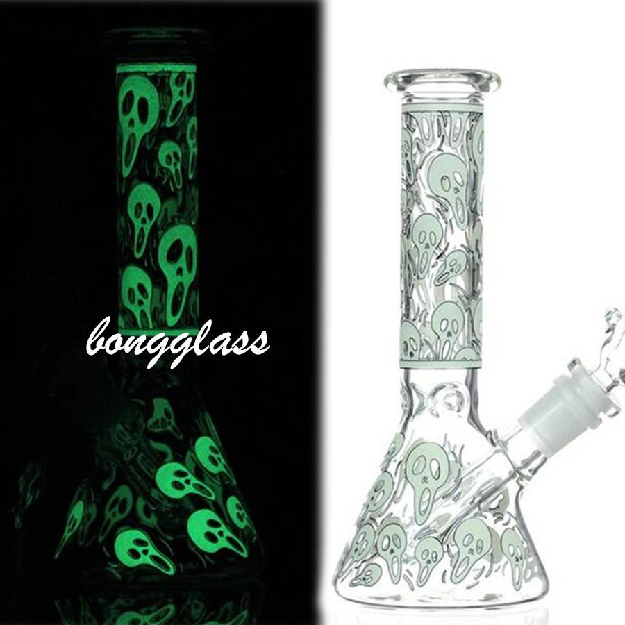 Glow in the Dark bong Skull glass Water Bongs Smoke Pipe tobacco Dowmstem Perc glass Bubbler Heady Dab Rigs Wax With 14mm Joint