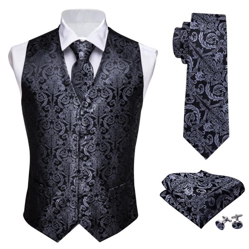 Tasarımcı Erkek Klasik Siyah Paisley Jakarlı Folrahar İpek Yelek Yelek Mendil Kravat Yelek Suit Cep Kare Set Barry.Wang T200113