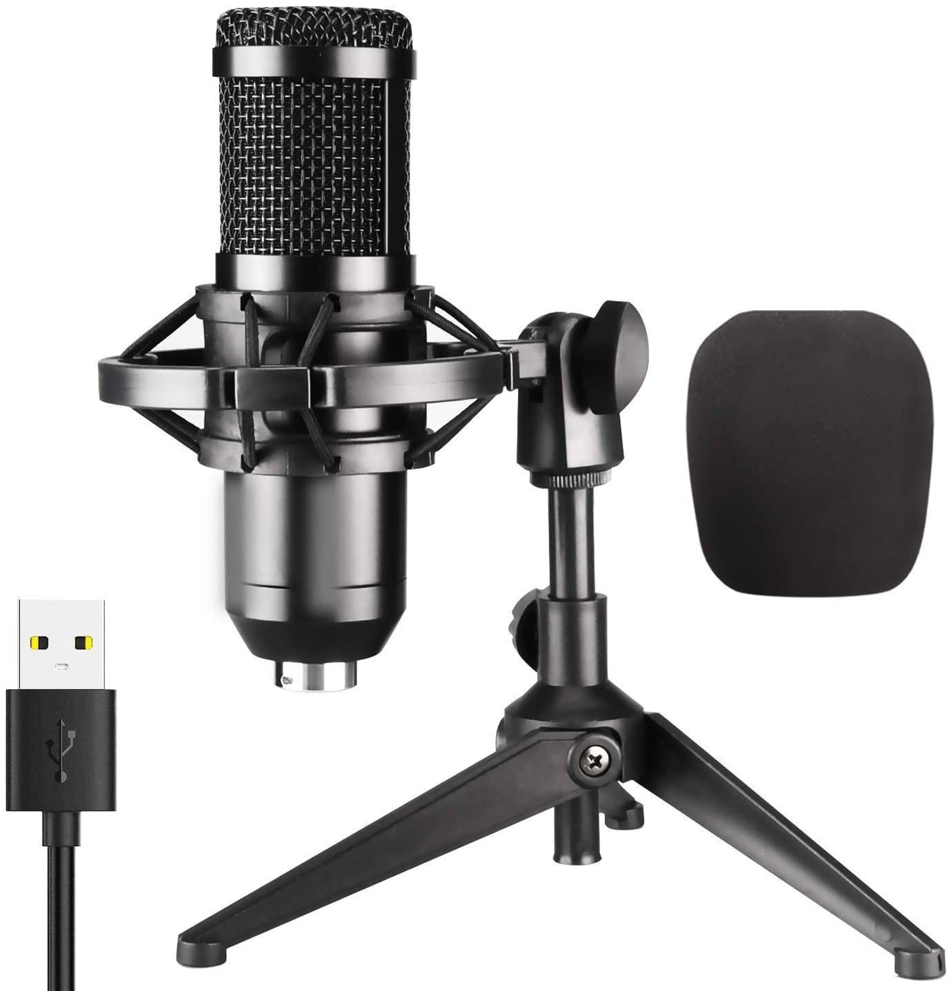 USB Mikrofon, PC Bilgisayar Masaüstü Dizüstü Bilgisayar Mac veya Windows Kayıt için Kondenser Kayıt Mikrofonu, Ses Şu Yayınlar, yayın yayınları)