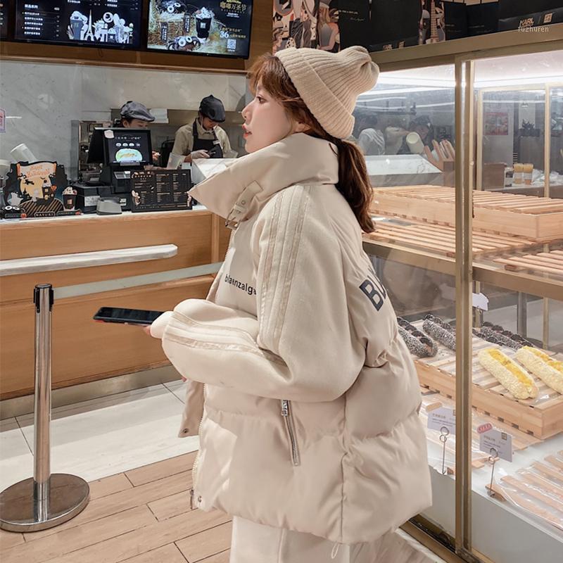 BornlaDies 2020 Massivständer Kragen Weibliche Winter Dicke Baumwolle-gepolsterte Jacke gesteppt Parkas Oversize Verdicken Warme Mantel1