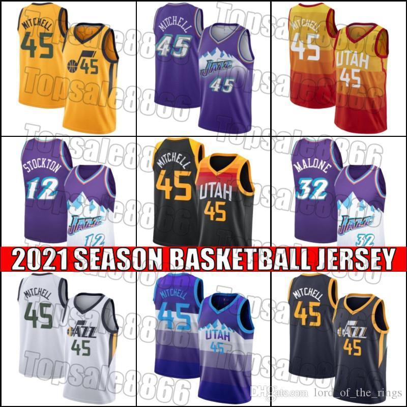 UtahJazzJersey Donovan 45 Mitchell Jerseys John 12 Stockton Jersey Karl 32 Malone Jerseys Baloncesto Jersey ZCB165