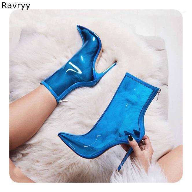 Boots Ins Мода Женщины Сандальный Прозрачный ПВХ Синий Короткий Тонкий Каблук Заостренный Нося Женская Обувь Модель Показать клуб Вечеринка Обувь1
