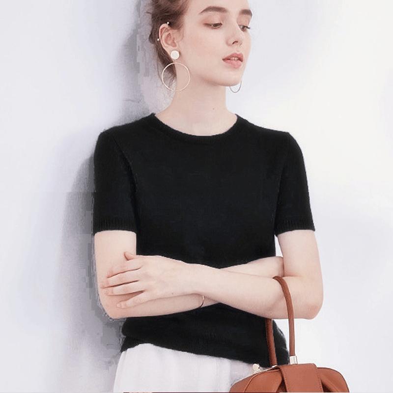2019 TEE Base T Lana Maglione Cashmere Plus Size Donne Jumper Womens Cashmere O Collo Manica corta Pullover a maglia
