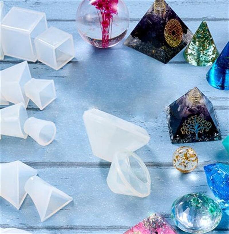 DIY Epoksi Reçine Silikon Kalıpları Bırak Tutkal Kristal Küp Piramit Üçgen Koni Yuvarlak Top Geometri Kalıp Zanaat Araçları Sıcak Satış 9Lya M2