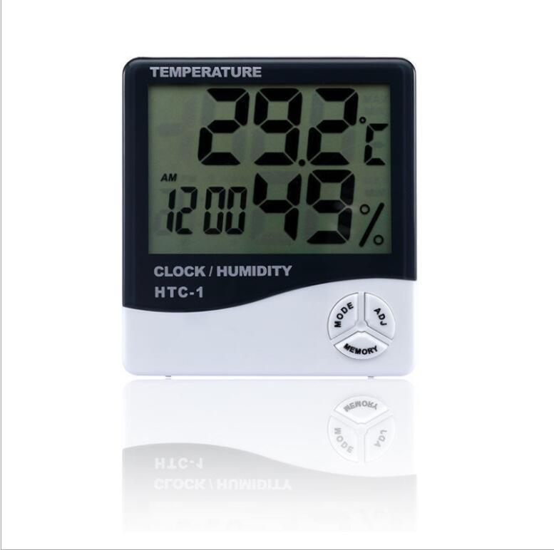 Digital LCD temperatura higrômetro relógio medidor de umidade termômetro com relógio Alarme de calendário htc-1 100 peças acima OWF3059