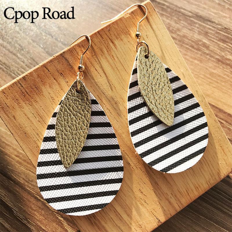 Люстра свисания CPOP Zebra-Print PU кожаные серьги листьев воды капля мода ювелирные изделия женские аксессуары подарки оптом