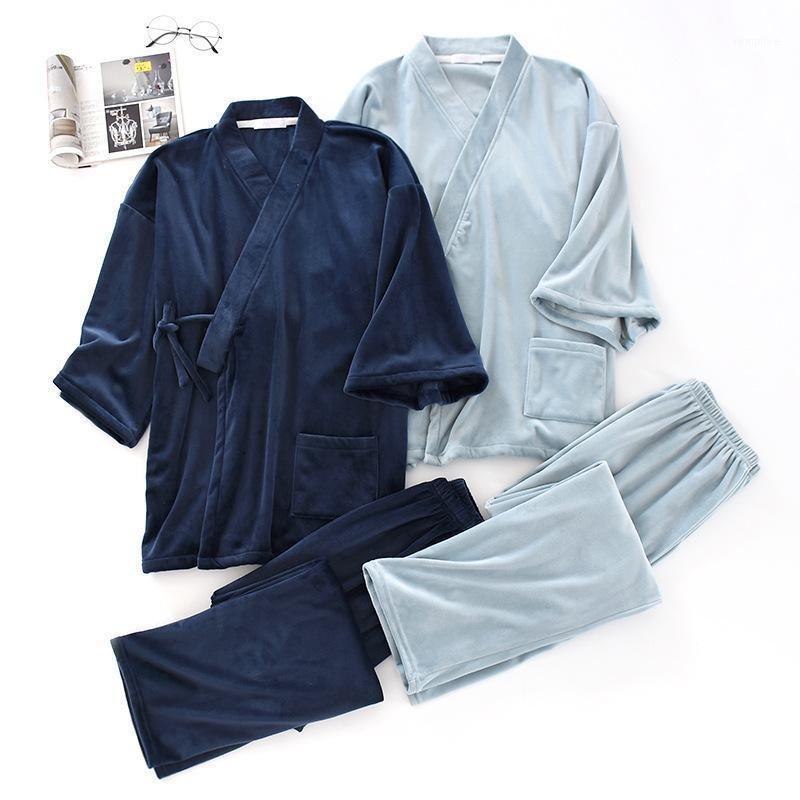 Men Flannel Loose Bathing Yukata Tops Trousers Pajamas Set Homewear Traditional Kimono Sleepwear Oversize1