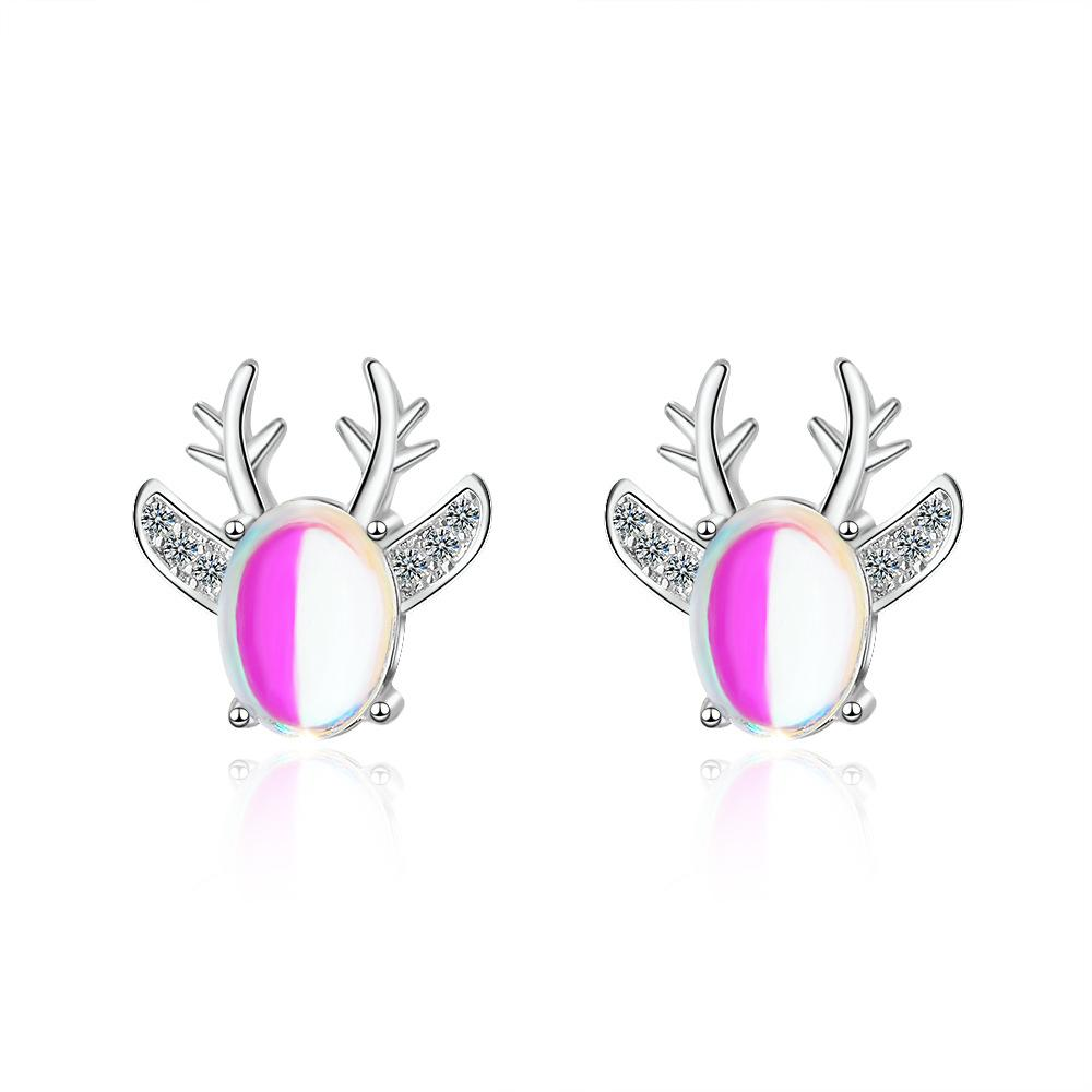 925 Sterling Silver OPAL Deer Animals Stud Pendientes para mujeres Boucles Joyería de boda Girl Navidad Regalos Oorbellen