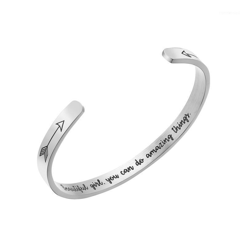 Браслет надпись красивая девушка Вы можете сделать удивительные вещи 6 мм титановый сталь браслет1