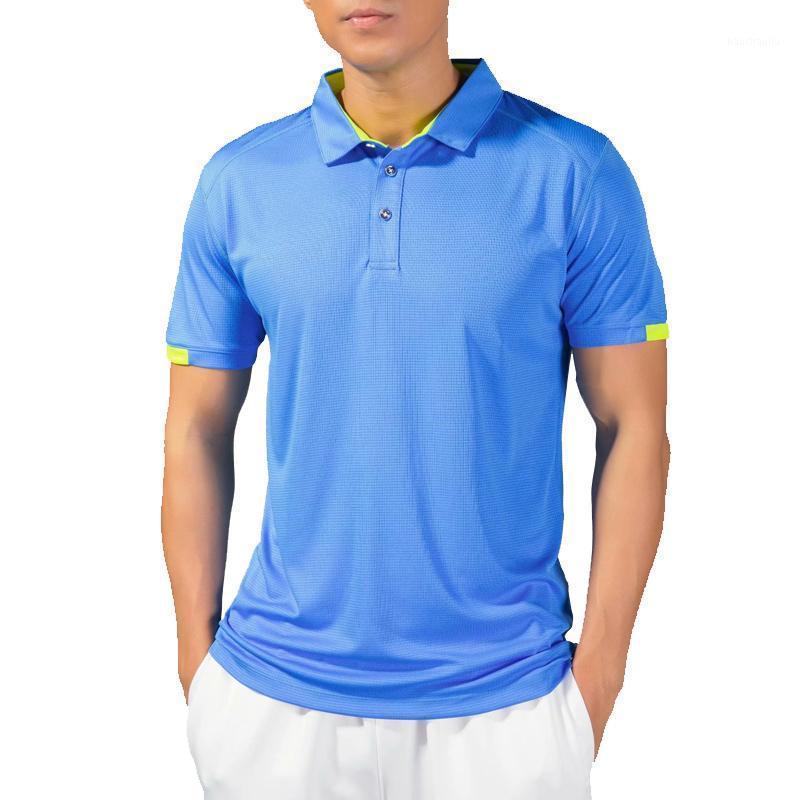 Тренажерный зал Поло бегущая рубашка мужчины быстрые сухие дышащие гольф футболки бегают стройные подходят топы тройки спортивные фитнес тренажерный зал Теннис футболки Tee1