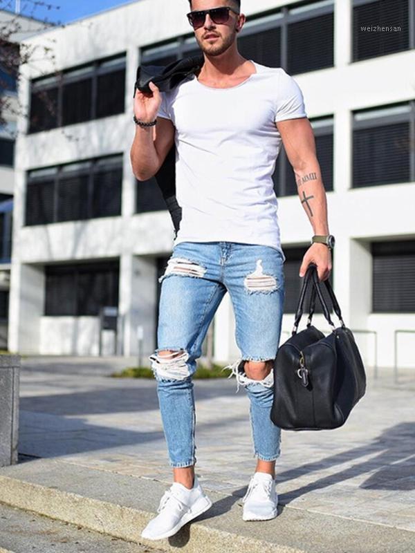 Mens jeans rasgados casuais magro magro fit calças jeans bicicleta hip hop jeans com sexy holel magro angustiado1