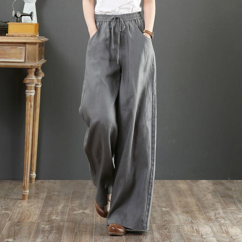 2020 Bahar Yaz Yeni Boy Kadınlar Casual Elastik Yüksek Bel Geniş Bacak Pantolon Kadın Vintage Gevşek Pamuk Keten Pantolon C78