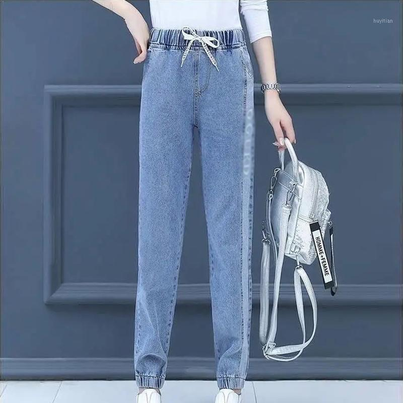 Casual Loose Blue Jean Sweatpants Mulheres com letra Plus Size Straight Perna Denim Calças Autumn Elastic High Waist Harem Calças1