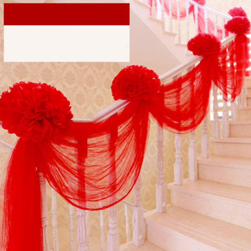 Casamento festa fundo véues decoração escadas coloridas gaze cortinas pano de fundo moda cadeira de casamento de volta decoração de gaze