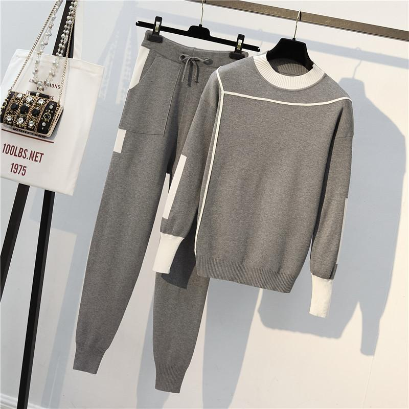Pista de outono 2 peças conjunto de malha manga longa pulôver camisola casual patchwork malha jumper tops e calças ternos 201199