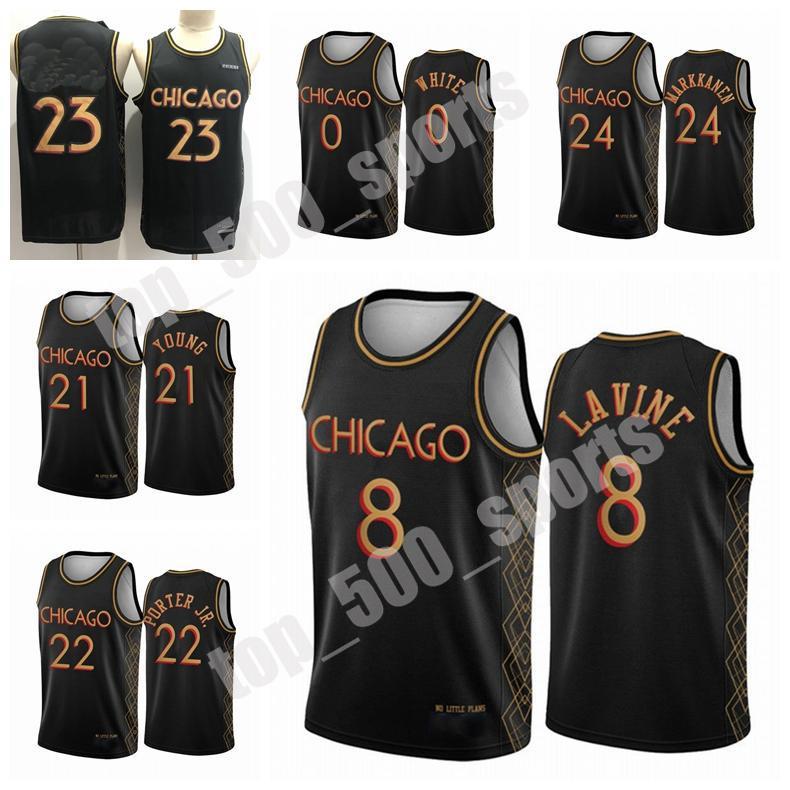Homens Coby Lauri Zach Markkanen Lavine Branco 2020/21 Swingman City Basketball Jersey Black Icon Edition