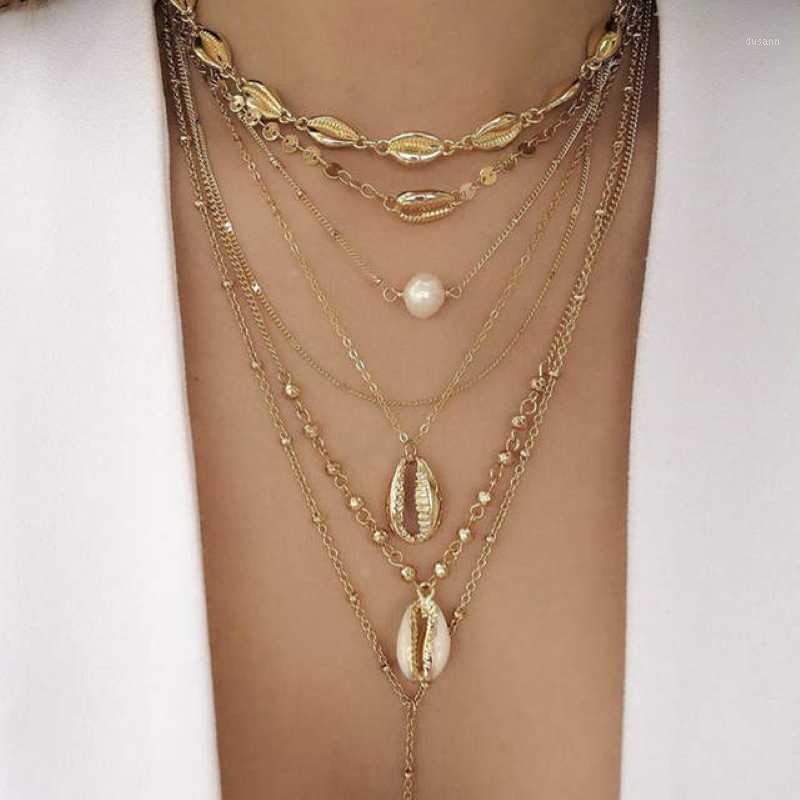 Hiyong Vintage Gold Fashion Bead Coche Coche Coche Collier de rub de cou pour femme Pendentif Collier Imitation perle pour cadeaux1