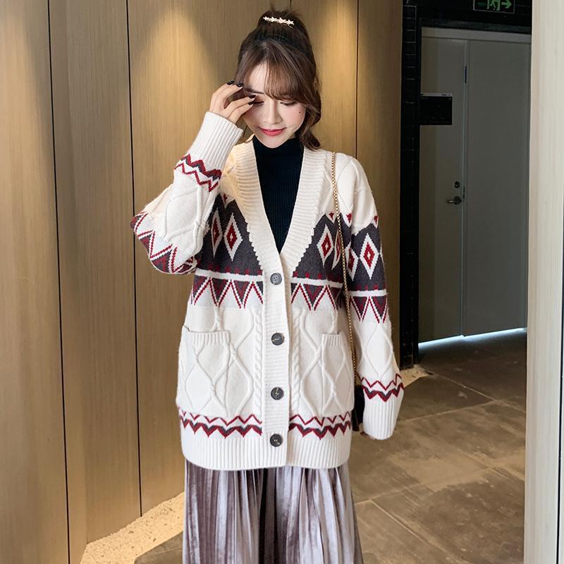 Novo Outono e Inverno 2020, Malha de Leltice de Mulheres Cardigan Cardigan, tamanho grande, solto, espessado longo V-pescoço de manga comprida