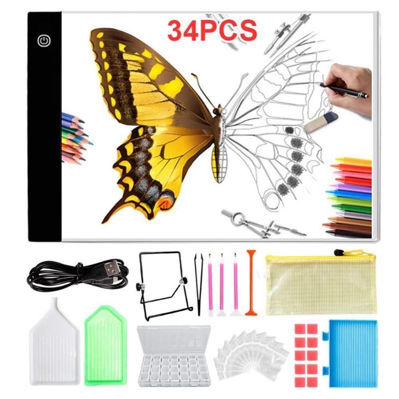 DIY Craft 5D LED Diamond Painting Cross Stitch Tools Kit Pack of 34pcs 35P
