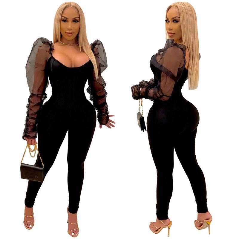 여성의 섹시한 둥근 목 메쉬 주름진 퍼프 슬리브 긴 슬림 다리 바지 jumpsuit Romper 크기 (S-2XL) A6650 블랙