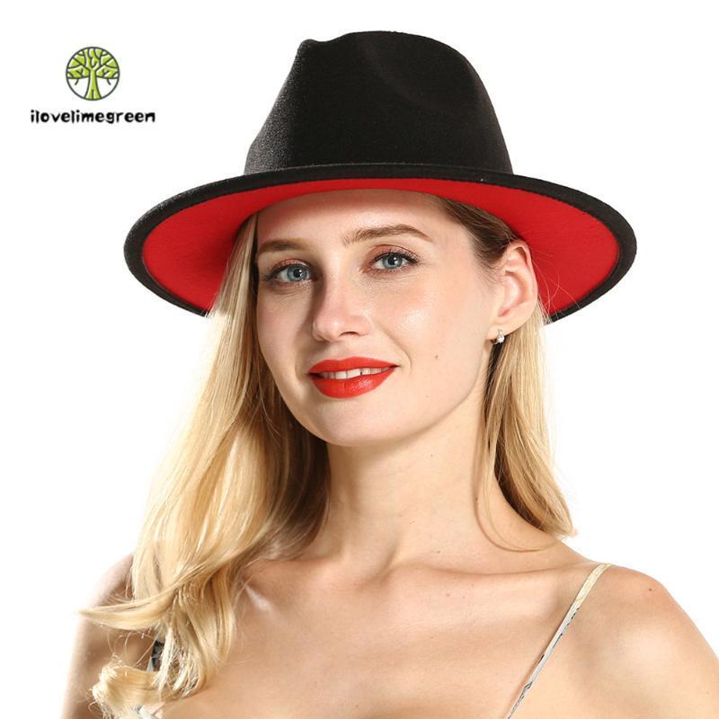 Широкие Brim Hats 2021 Продают Balck Red Patchwork Fedora Hat для женщин Мужчины Элегантная джазовая Панама Вечеринка и кепки