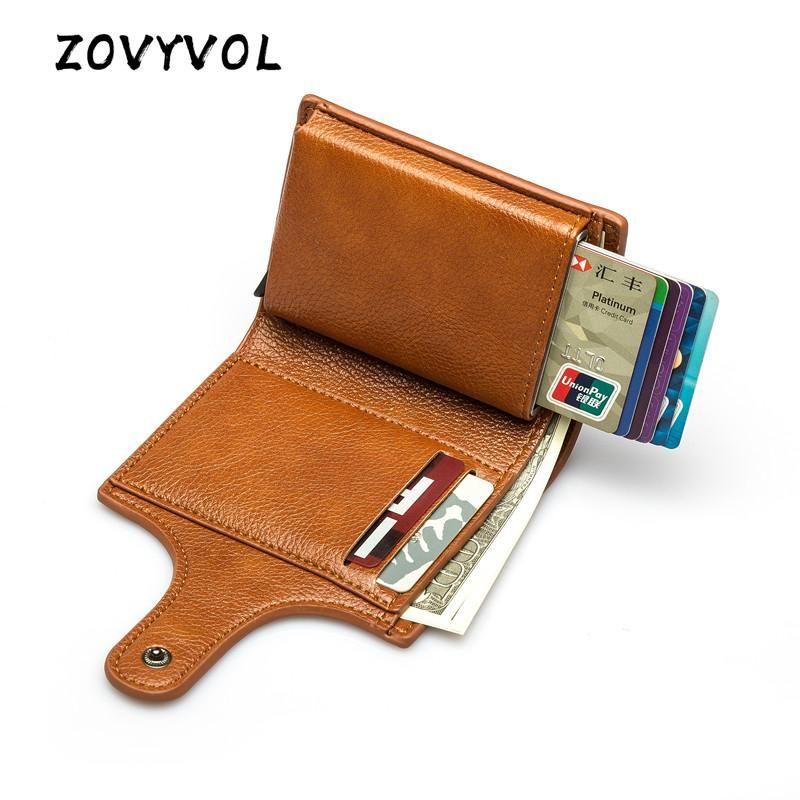 Zovyvol 2021 Wallet Women Pequeño Unisex Vintage Solid Money Bag PU Cuero Tarjeta Tarjeta Tarjeta Smart Slim RFID Caja de la tarjeta de las señoras